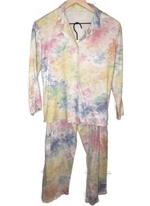 Floral 2pc Pajama Set Pjs Womens Watercolor Floral